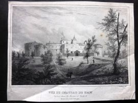 Gourdault after Asselineau C1860 Antique Print. Vue du Chateau de Ham. France